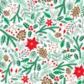 Vector winter floral seamless pattern. Christmas poinsettia flower background