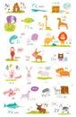Cute vector zoo alphabet with cartoon and funny