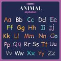 Cute vector zoo alphabet with cartoon and funny