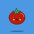 Cartoon tomato cute character face sticker.