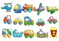 Cute Vehicles Cartoon Design Vector Set