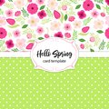 Cute vintage card template with hand drawn rustic flowers