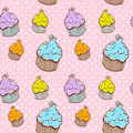 Cute vintage cupcake seamless texture Stock Photos