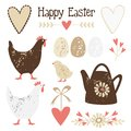 Cute vintage easter elements set with eggs hens and flowers illustration Royalty Free Stock Photography