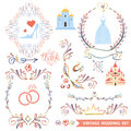 Cute vintage floral set with wedding icons,doodle Royalty Free Stock Photo