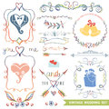 Cute vintage floral set.Wedding icons,doodle decor Royalty Free Stock Photo
