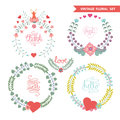 Cute vintage floral wreath set with hearts