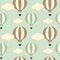 Cute Vintage Hot Air Balloon Seamless Pattern Background Illustration
