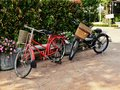 Cute vintage style bicycle in garden red blue classic background Royalty Free Stock Photography