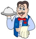 Cute waiter with meal Royalty Free Stock Images