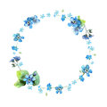 Cute watercolor circular flower frame. Background with watercolor forget me nots