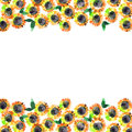 Cute watercolor flower border. Background with watercolor sunflowers.