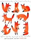 Cute watercolor foxy set Royalty Free Stock Photo
