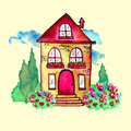 Cute watercolor landscape with house and garden. Sweet home concept. Hand painted card with happy house, blue clouds Royalty Free Stock Photo