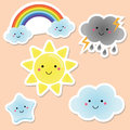 Cute weather and sky elements. Kawaii sun, rainbow, clouds. vector stickers for kids, isolated design elements. Children labels Royalty Free Stock Photo