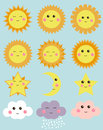Cute weather: sun, moon, star, clouds. Design elements for kids illustrations.