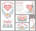 Cute wedding design template set.Floral decor Royalty Free Stock Photo