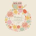Cute wedding invitation with floral frame and owls in cartoon style Royalty Free Stock Photo