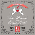 Cute wedding invitation.Floral items and cartoon pigeons.Vintage