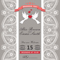 Cute wedding invitation.Paisley border lace,cartoon pigeons.Vint