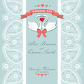Cute wedding invitation.Paisley border lace,cartoon swans.Vintag Royalty Free Stock Photo