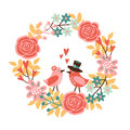 Cute wedding, mothers day or spring card, invitation with floral wreath and birds in love, Royalty Free Stock Photo