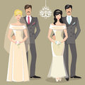 Cute wedding set of cartoon couple bride and groom Royalty Free Stock Photo