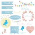 Cute wedding set elements invitation. Royalty Free Stock Photo