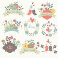 Cute wedding set vintage with hearts birds frames ribbons bows rings flowers arrows in retro style Royalty Free Stock Photography
