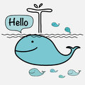 Cute Whale Say Hello On The Sea. Vector Illustration. Royalty Free Stock Photo