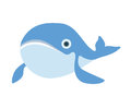 Cute whale. Vector illustration,  on white. Royalty Free Stock Photo