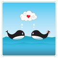 Cute whales in love vector illustration i you art Royalty Free Stock Image