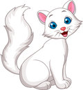 Cute white cat cartoon sitting illustration of Royalty Free Stock Photo
