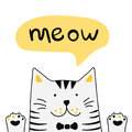 Cute white cat with lettering word Meow. Vector Illustration