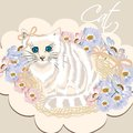 Cute white detailed cat in basket with flowers