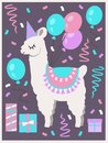 Cute white Llama or Alpaca with party hat, gift boxes, balloons and confetti birthday greeting card