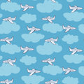 Cute white planes in the sky with clouds pattern