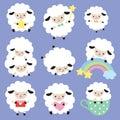 Cute White Sheep Vector Set
