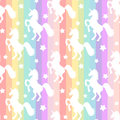 Cute white unicorns silhouette on rainbow colorful stripes seamless pattern background illustration Royalty Free Stock Photo
