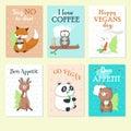 Cute Wild Animals Eating Food Vector Card Set