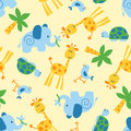 Cute wild animals seamless pattern Stock Photo