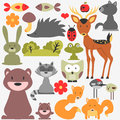 Cute wild animals set of Royalty Free Stock Image