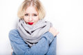 Cute winter fashion girl portrait of a colorful Royalty Free Stock Photo