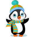 Cute winter penguin with hat and scarf Stock Photography