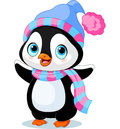Cute winter penguin with hat and scarf Royalty Free Stock Images