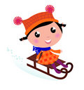 Cute winter sledding Child. Royalty Free Stock Images