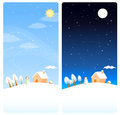 Cute winter theme vertical banners Royalty Free Stock Photography