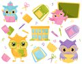 Cute wise owls and school supplies, school education and knowledge concept vector Illustration