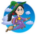 Cute witch on broom Royalty Free Stock Photography