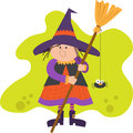 Cute witch with broom holding a spider eps Stock Images